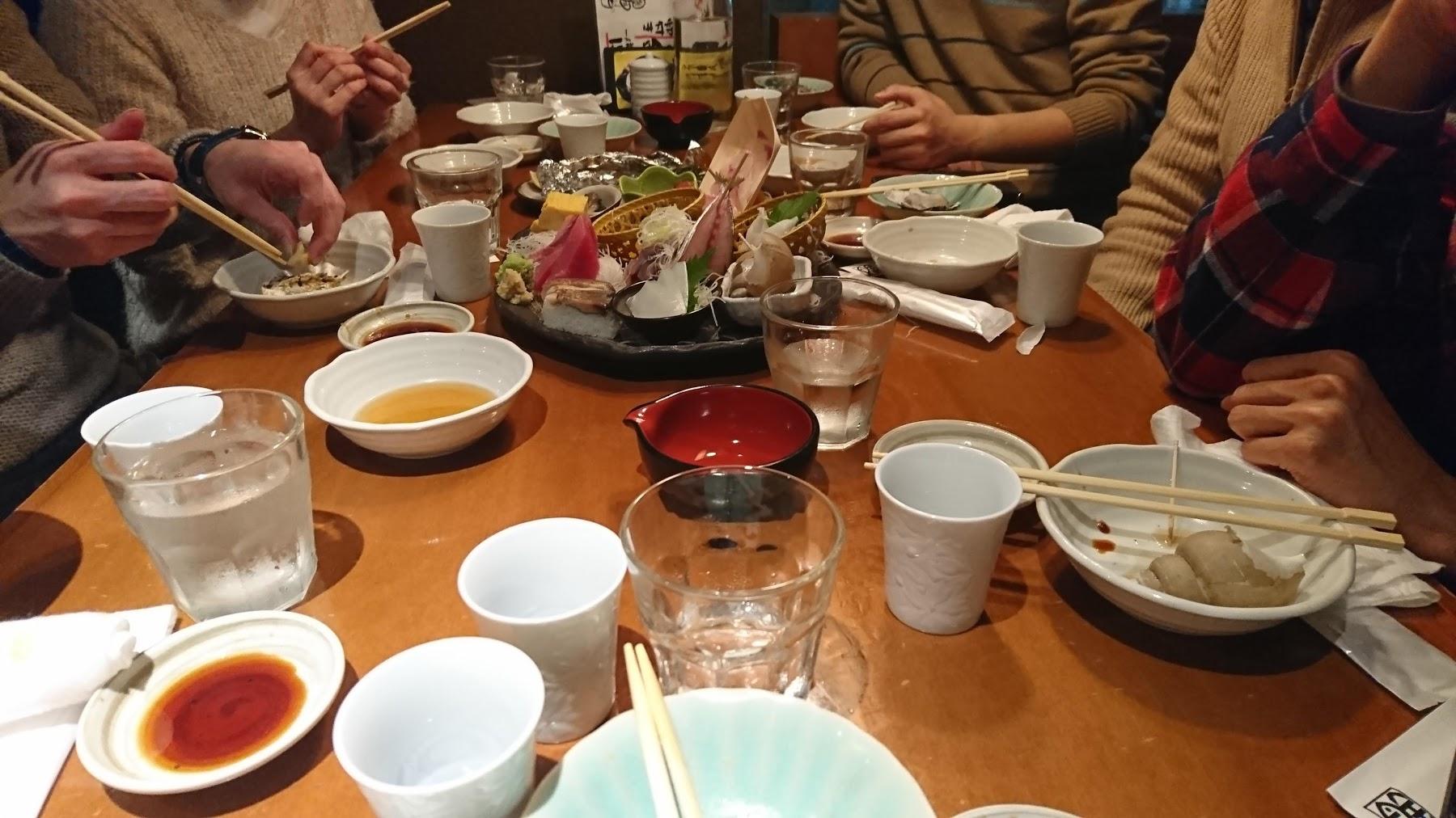 魚金での山歩会の2018年新年懇親会