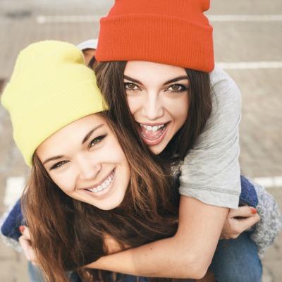 Happy Girls Goofy With Hats