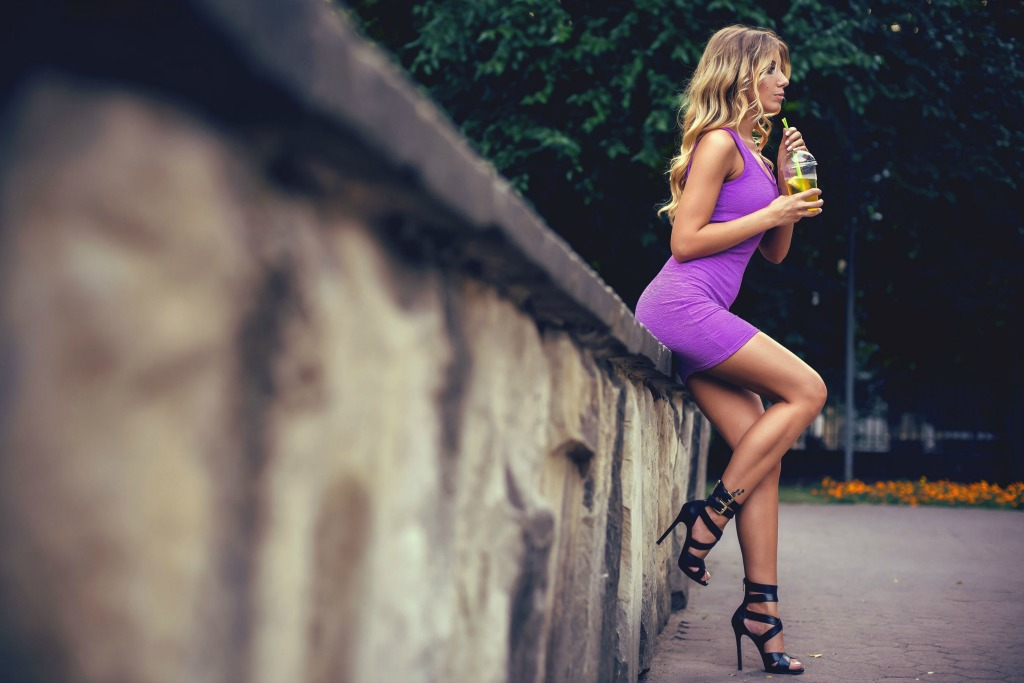 Woman Purple Dress Drinking Ice Tea