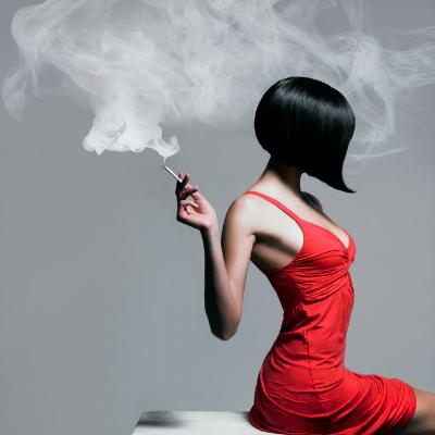 Art Portrait Woman Red Dress Smoking