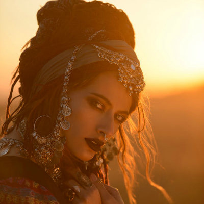 Beautiful Bohemian Woman Sunset