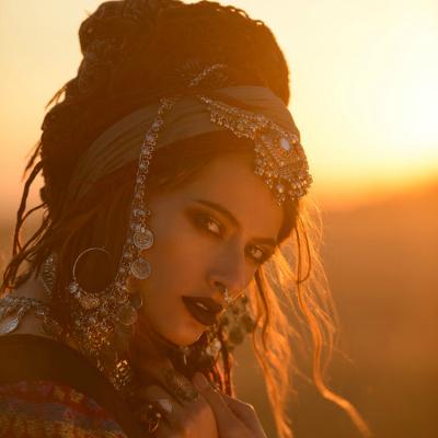 Beautiful Bohemian Woman Sunset