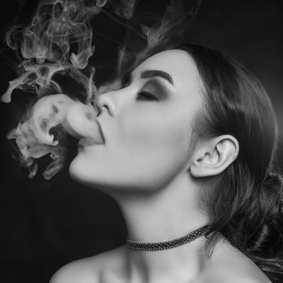 Glamorous Portrait Woman Smoking Cannabis