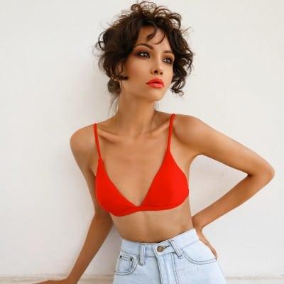 Cherry Almond Tart, Treat Yourself, Sexy Brunette, Woman in red bikini, Red lips