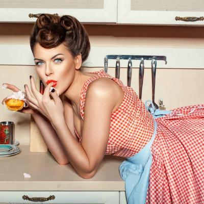 Sexy Girl Kitchen Eating Dessert