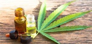 Cannabis Treatment for Chronic Pains-cbd oil and hemp leaf