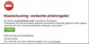 Phishing waarschuwing webbrowser