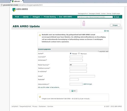 Phishing-website ABN AMRO