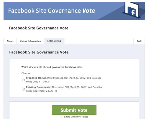 Site Governance vote-pagina Facebook