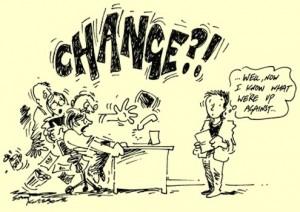 Cartoon: reactie medewerkers op aangekondigde verandering