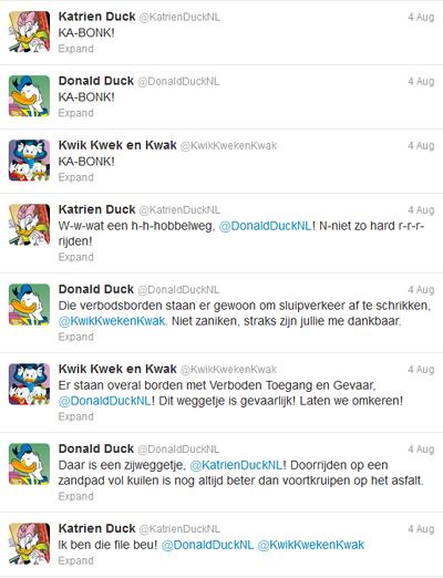 Donald Duck op twitter: interactie