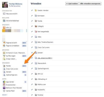 Facebook lijsten