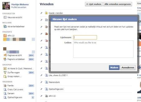 Facebook lijst aanmaken