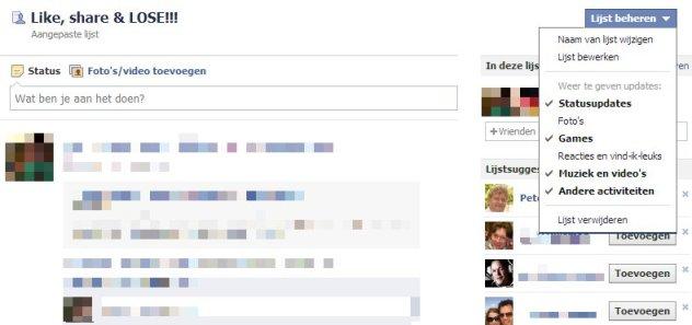 Facebook lijst: Like, share & LOSE