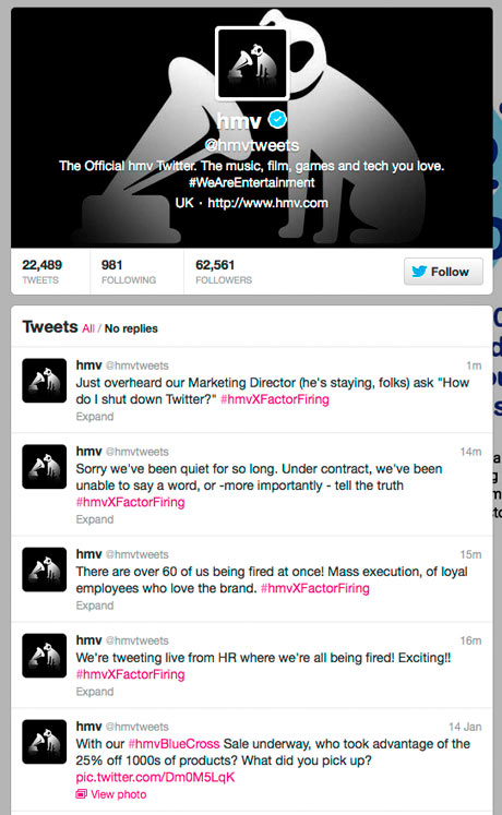 HMV Twitter feed