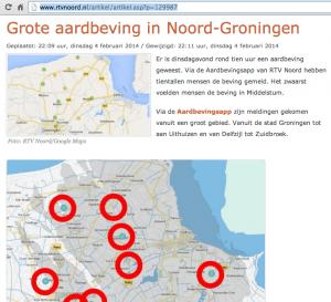 Schermafbeelding van website RTV Noord over grote aardbeving in Noord-Groningen