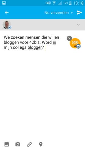 Instagram bericht schrijven in de Hootsuite app