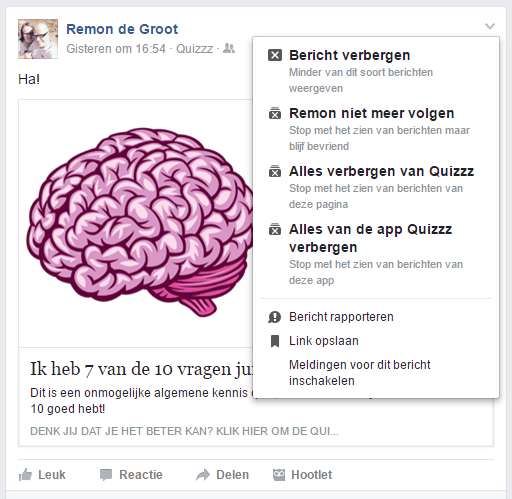facebook tijdlijn is niet leuk