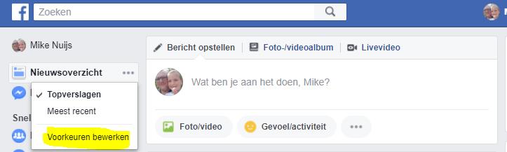 voorkeuren tijdlijn facebook