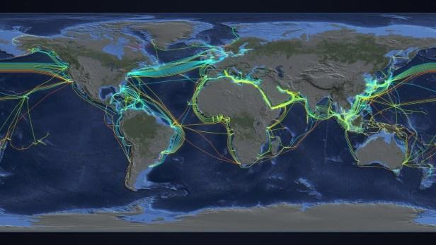 전 세계 해저 케이블 지도