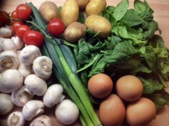 11.3.16 - Rührei mit Babyspinat,Champignons,kartoffeln,Frikadellen, (2)