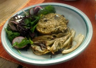 24.6.16 - Quinotto,Champignon,gebratener Fenchel,Pflücksalat,Dessert (17)