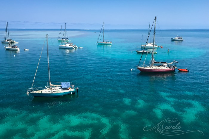 sailboats on moorings in new caledonia