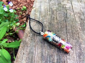 Amethyst 7 Chakra Balance Pendant – Orgonite®- Seed of Life
