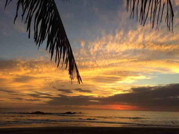 Sunset on the beach near Leon Nicaragua
