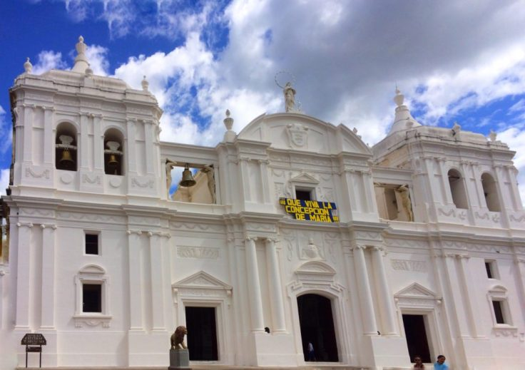 White cathedral in Leon Nicaragua