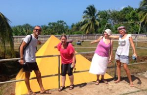 yellow pyramid with Omar, Bonnie, Roser, and Viky