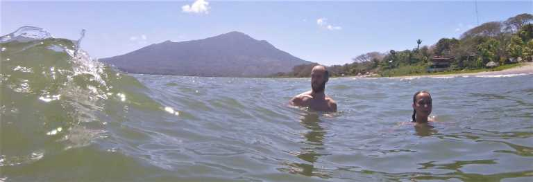 Swimming at an Ometepe beach