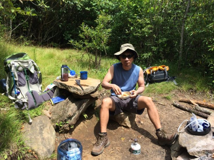 lunch and a bear box in the Great Smoky Mountains