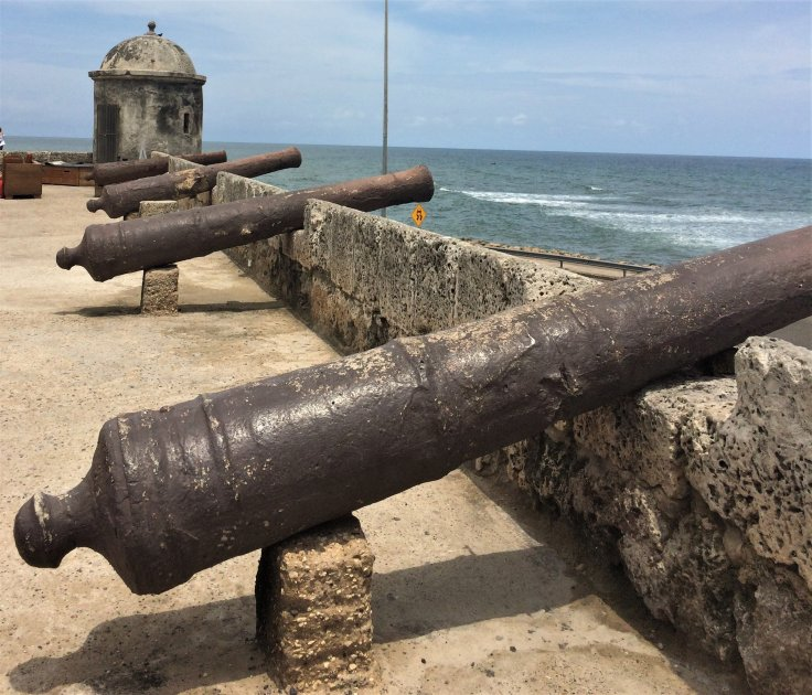 cannons in Cartagena, Colombia
