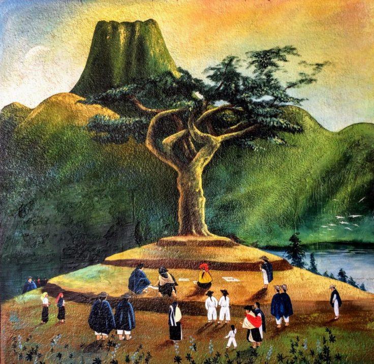 Artwork on the wall at Peguche Wasi