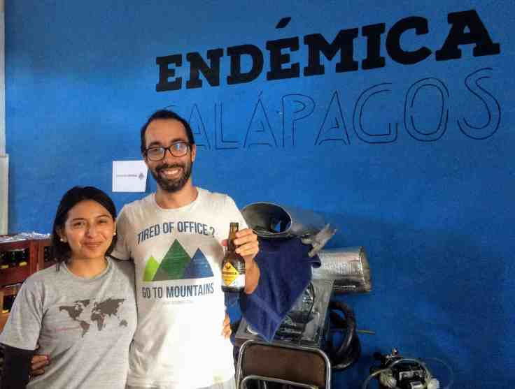 Dani and Jenny owners of Endemica brewery in Galapagos