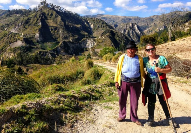 Maria, an indigenous woman, and Bonnie on the Quilotoa Trail