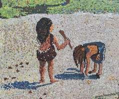 Mural depicting Peru History children