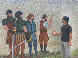 Mural depicting Peru History with Trin