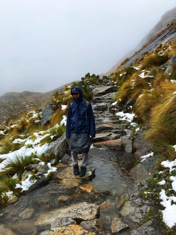 The river path coming down from the Punta Cana Union Pass on the Santa Cruz Trek