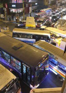Buses in a traffic jam in Lima Peru