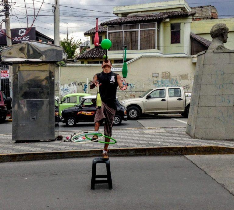Street performer in Ecuador