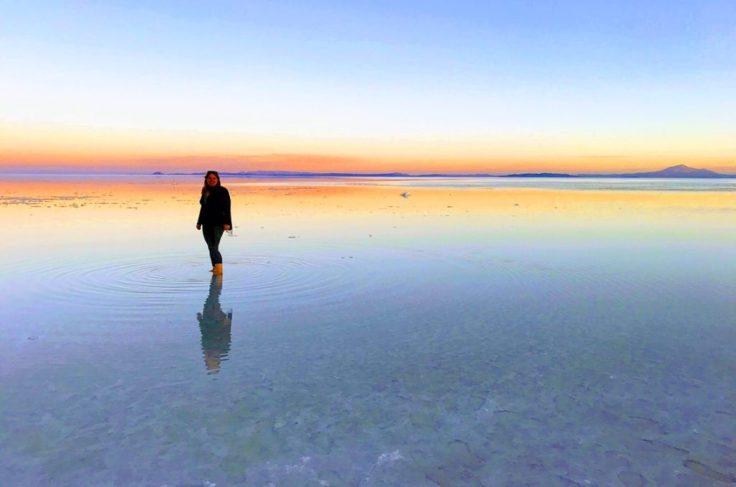 Sunset over the Uyuni Salt Flats
