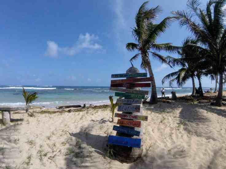 Sign post in big corn island