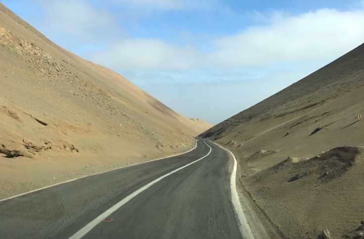 Descending into Pisagua in Northern Chile
