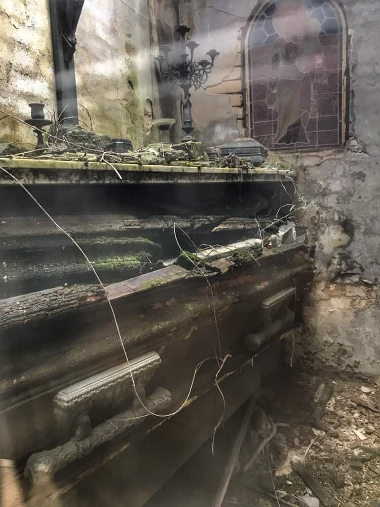 Rotting caskets in the Recoleta Cemetery