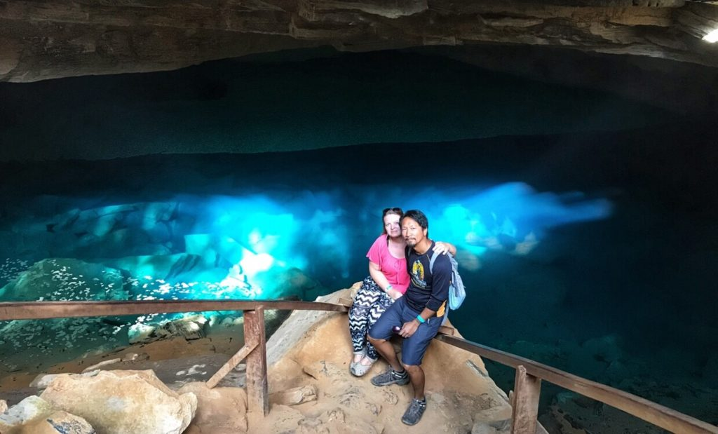 Sitting in front of the Gruta Azul