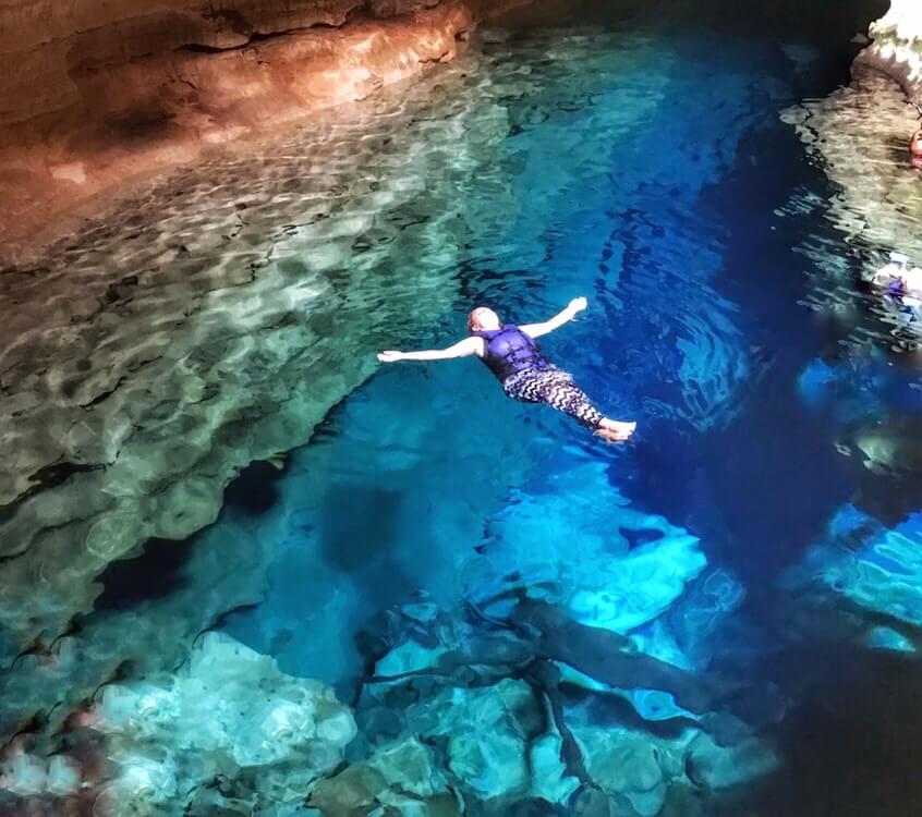 Floating in Poço Azul