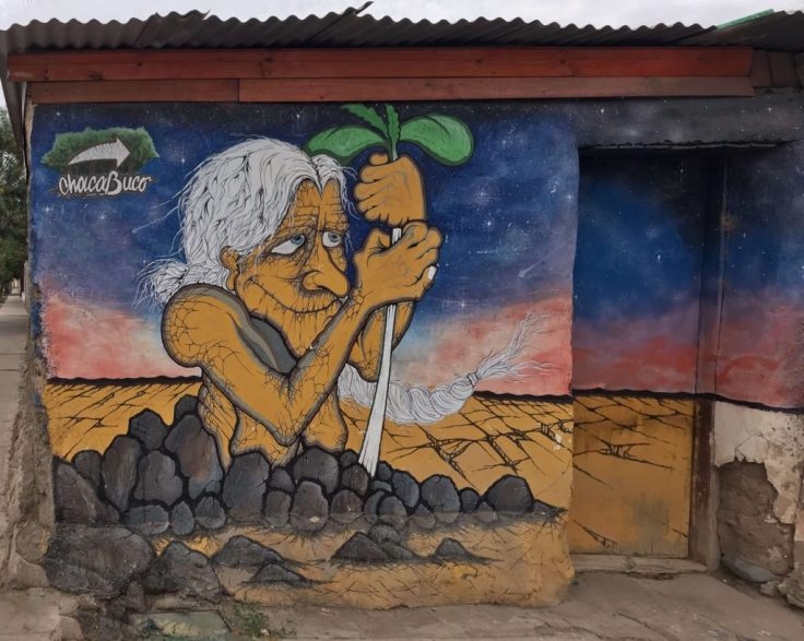 Graffiti of an old witch on a wall in La Campana in the Elqui Valley