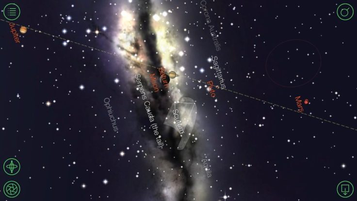 The line of our galaxy as depicted by the Star Walk iPhone application